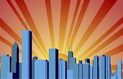 Wschód słońca miasto ilustracja wektor