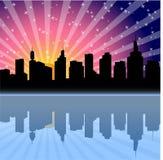 Wschód słońca miasto royalty ilustracja