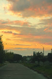 Wschód słońca na drodze Zdjęcia Stock