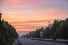 Wschód słońca na drodze Fotografia Royalty Free