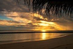 Wschód słońca na Gangehi wyspie Maldives fotografia stock