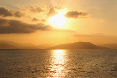 Wschód słońca na ionian morzu Lato świt Obraz Royalty Free