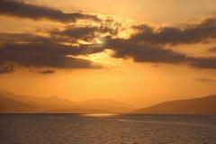Wschód słońca na ionian morzu Lato świt Zdjęcie Royalty Free