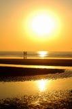 wschód słońca na plaży Obrazy Royalty Free