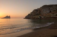 Wschód słońca na plaży w Aguilas, Murcia Obraz Stock