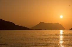 Wschód słońca na plaży w Aguilas, Murcia Obrazy Royalty Free