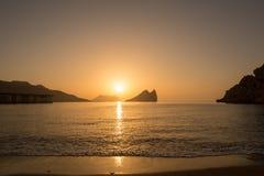 Wschód słońca na plaży w Aguilas, Murcia Zdjęcia Stock