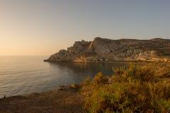 Wschód słońca na plaży w Aguilas, Murcia Obrazy Stock