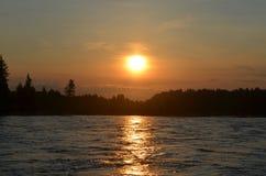 Wschód słońca na wąż rzece Obraz Royalty Free