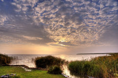 Wschód słońca na zatoce Ahrenshoop Zdjęcia Stock