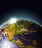 Wschód słońca nad centrala i Północna Ameryka od przestrzeni royalty ilustracja