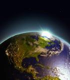 Wschód słońca nad centrala i Północna Ameryka od przestrzeni ilustracja wektor