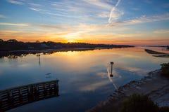 Wschód słońca nad Floryda intercoastal drogą wodną Obrazy Royalty Free
