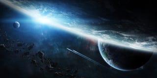 Wschód słońca nad grupą planety w przestrzeni ilustracja wektor