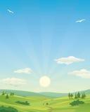 Wschód słońca nad idylliczną krajobrazową ilustracją royalty ilustracja