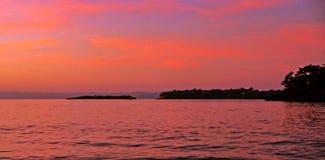Wschód słońca nad morzem karaibskim, wczesny poranek Obrazy Stock
