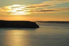 Wschód słońca nad morzem na Francja wybrzeżu Fotografia Royalty Free