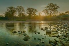 Wschód słońca nad Murti rzeką, Dooars, Zachodni Bengalia, India obrazy royalty free