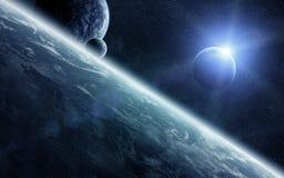 Wschód słońca nad planetami w przestrzeni ilustracji