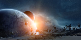 Wschód słońca nad planety ziemią w przestrzeni ilustracja wektor