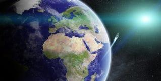 Wschód słońca nad planety ziemią w przestrzeni ilustracji