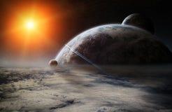 Wschód słońca nad planety ziemią w przestrzeni royalty ilustracja
