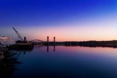 Wschód słońca nad Portsmouth soli stosem obraz stock