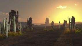 Wschód słońca nad pustynią Obrazy Royalty Free