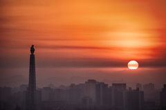 Wschód słońca nad Pyongyang, DPRK - Północny Korea Fotografia Royalty Free