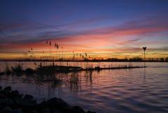 Wschód słońca nad rzeczny Merwede Obraz Stock