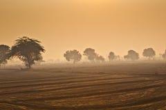 Wschód słońca nad wiejskim krajobrazem w Rajasthan Zdjęcia Royalty Free