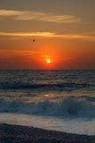 Wschód słońca nad Wielką Yarmouth plażą Norfolk fotografia stock