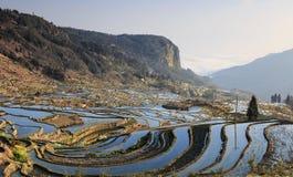 Wschód słońca nad YuanYang ryż tarasuje w Yunnan, Chiny, jeden opóźneni UNESCO światowego dziedzictwa miejsca fotografia stock