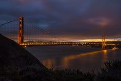 Wschód słońca Nad złoci wrota mostem Obrazy Stock