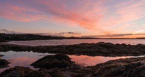 Wschód słońca nad zatoką Funda i ocean zdjęcie stock