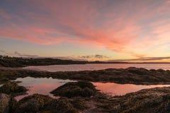Wschód słońca nad zatoką Funda i ocean zdjęcia stock
