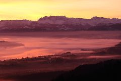 Wschód słońca nad Zurich jeziorem Obraz Royalty Free