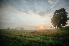 Wschód słońca należny mgła! Zdjęcia Stock