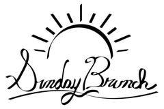 Wschód słońca Niedziela śniadanio-lunch kaligrafii Handwriting royalty ilustracja