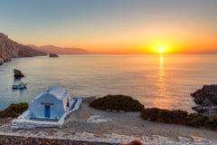 Wschód słońca od Agia Anna w Amorgos, Grecja Zdjęcia Stock