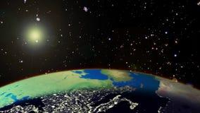 Wschód słońca od przestrzeni ilustracji