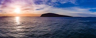 Wschód słońca panorama przy południe ręką w Tasmania, Australia Zdjęcie Royalty Free