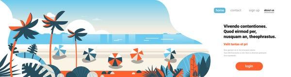 Wschód słońca plażowych piłek wakacje nadmorski tła tropikalnego palmowego dennego widok na ocean sztandaru kopii płaska horyzont ilustracja wektor