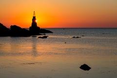 Wschód słońca przy Ahtopol latarnią morską w Bułgaria Fotografia Royalty Free