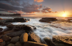 Wschód słońca przy Avalon plażą fotografia stock