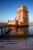 Wschód słońca przy Belem wierza w Lisbon Obraz Stock
