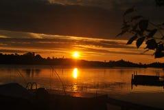Wschód słońca przy chałupą Obrazy Royalty Free