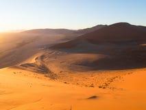 Wschód słońca przy diuną 45 w Namib pustyni, Namibia Zdjęcie Stock