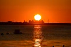 Wschód słońca przy fan molem Obrazy Royalty Free