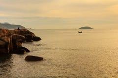 Wschód słońca przy Hon Chong, Nha Trang, Khanh Hoa, Wietnam Zdjęcia Stock
